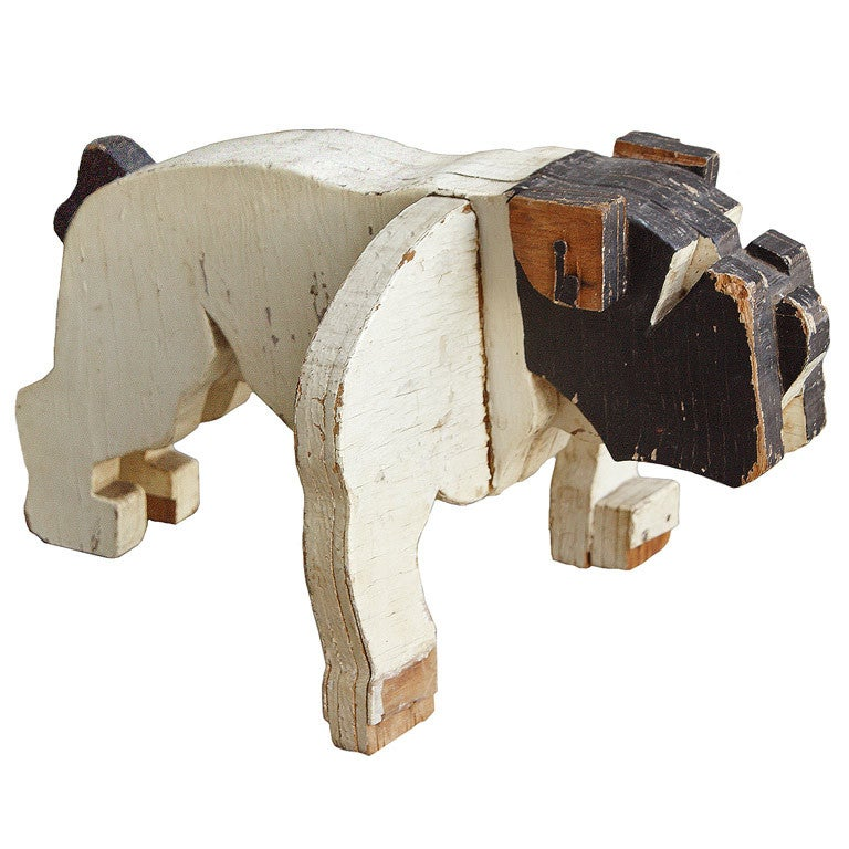 c. 1930's American Folk Art Wooden Bulldog Sculpture