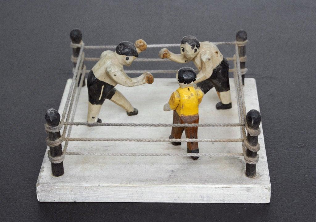 Folk art boxing ring carving at stdibs