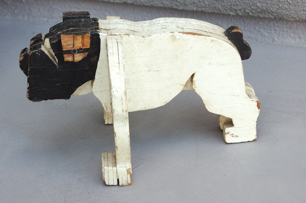 c. 1930's American Folk Art Wooden Bulldog Sculpture image 3