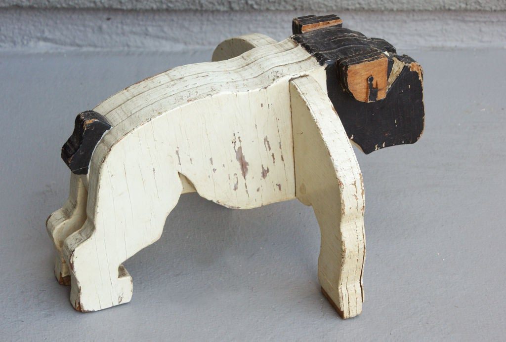 c. 1930's American Folk Art Wooden Bulldog Sculpture image 4