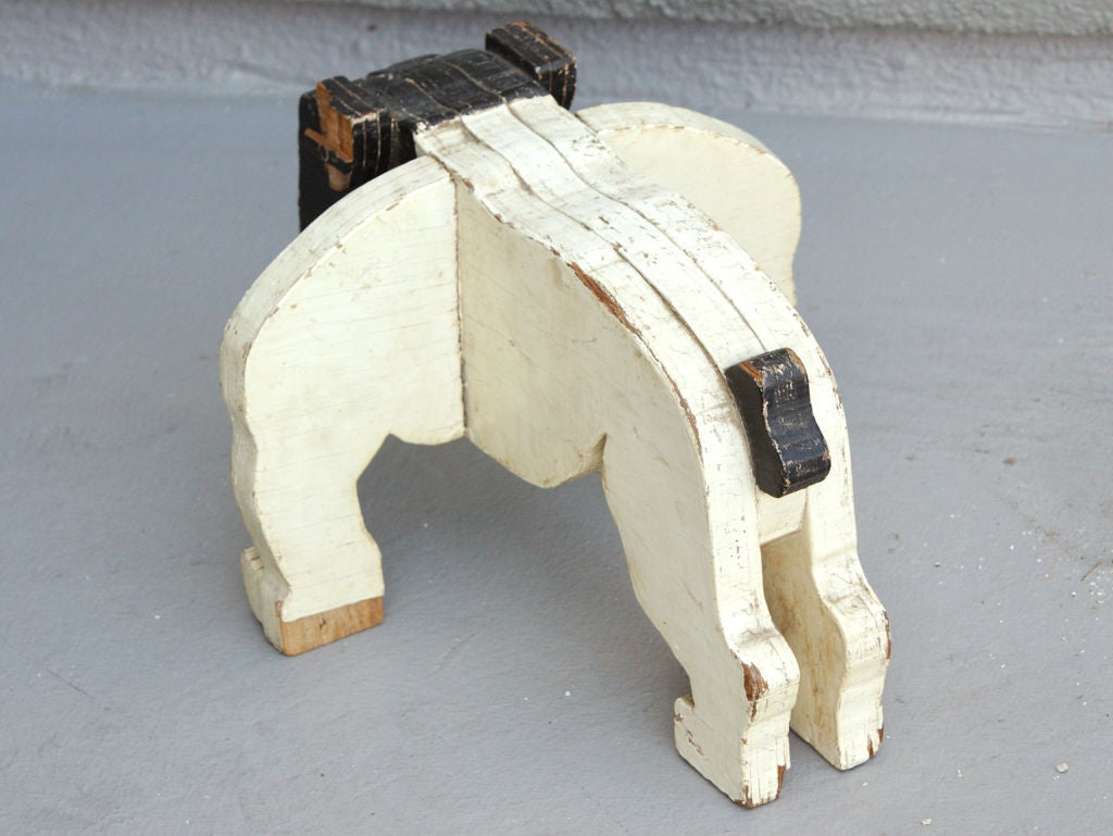 c. 1930's American Folk Art Wooden Bulldog Sculpture image 5