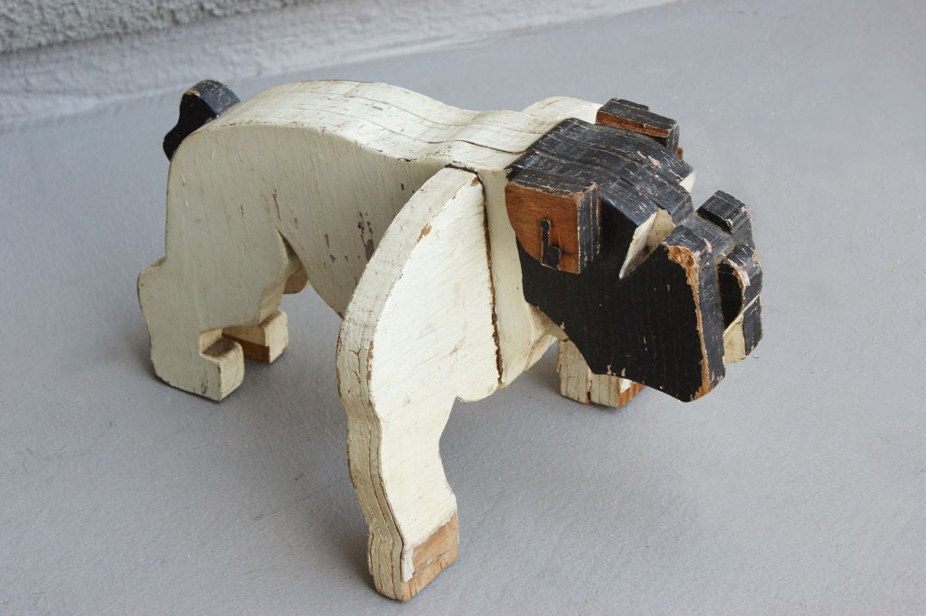 c. 1930's American Folk Art Wooden Bulldog Sculpture image 2