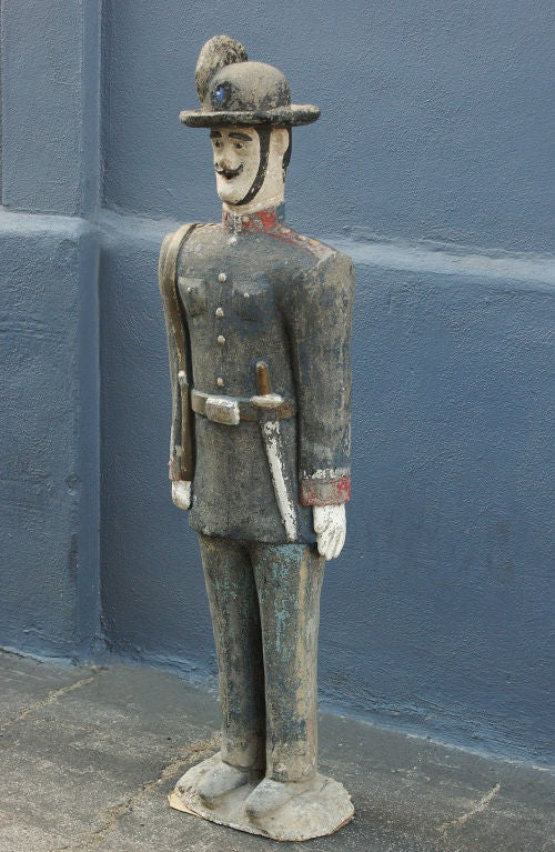 Folk Art Concrete Soldier Statue circa 1900 Chicago Area Garden For Sale