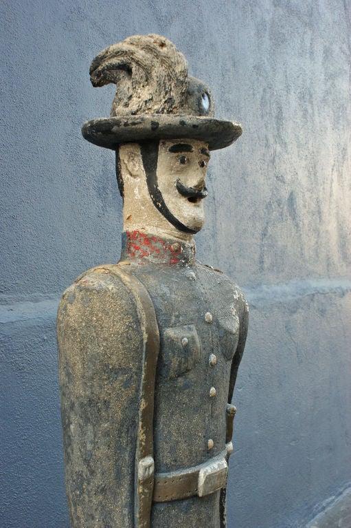 American Concrete Soldier Statue circa 1900 Chicago Area Garden For Sale