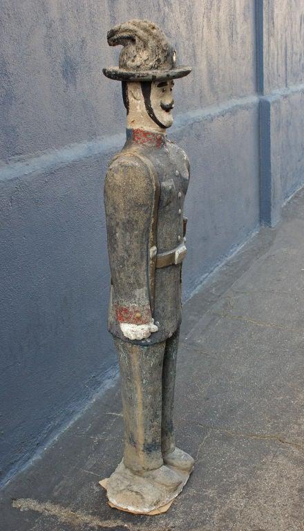 Concrete Soldier Statue circa 1900 Chicago Area Garden In Good Condition For Sale In Santa Monica, CA