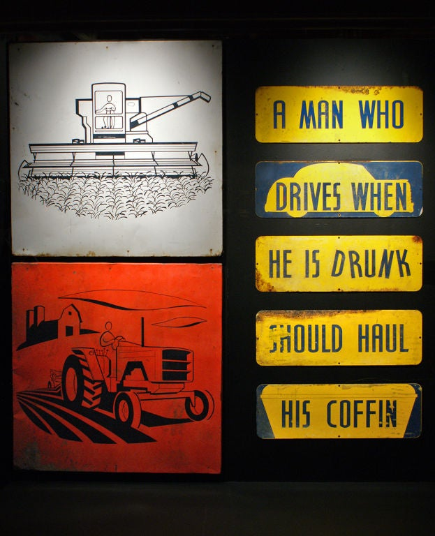 Set of Temperance Day Sheet Metal Road Signs, circa 1951 For Sale 1