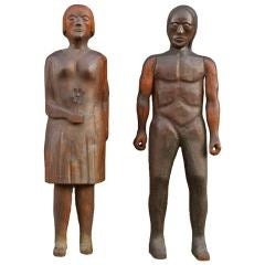 Large-Scale Hand-Carved Wooden Folk Art Figures
