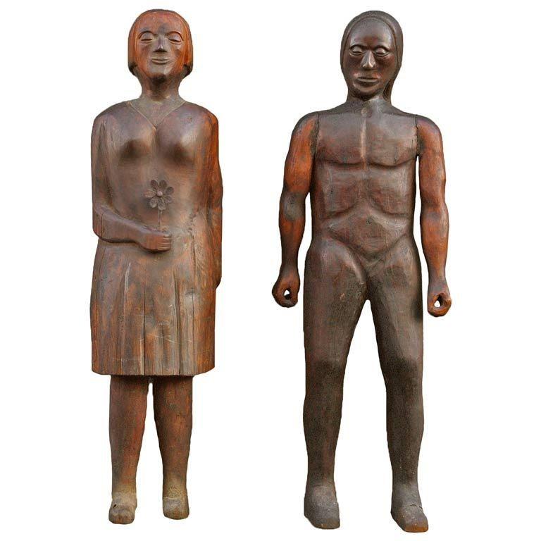 Hand-Carved Wooden Folk Art Figures