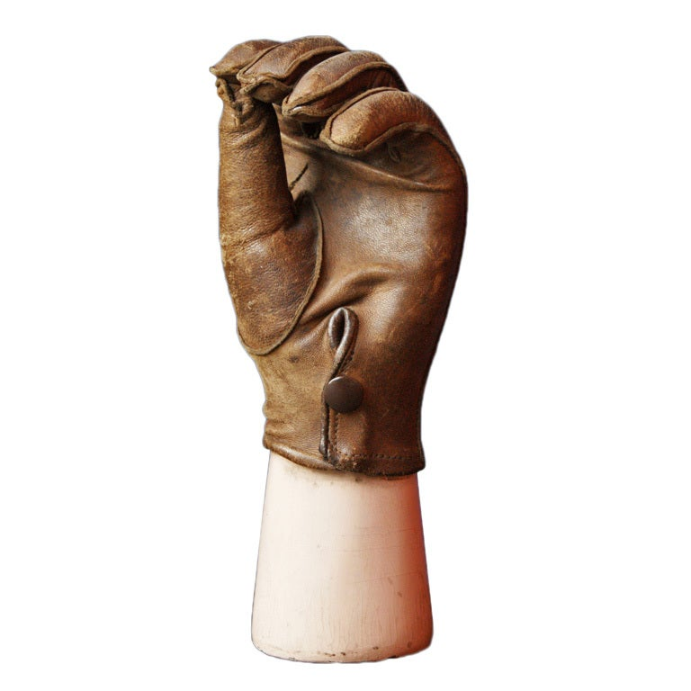 Late 19th Century Prosthetic Hand with Leather Glove For Sale