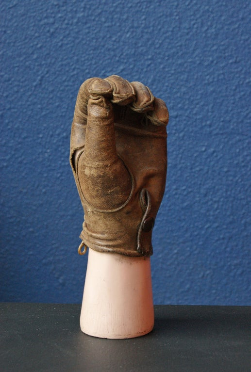 The quality of leather glove on this prosthetic speaks to its owner's affluence. Marked on the inside, presumably by the owner.