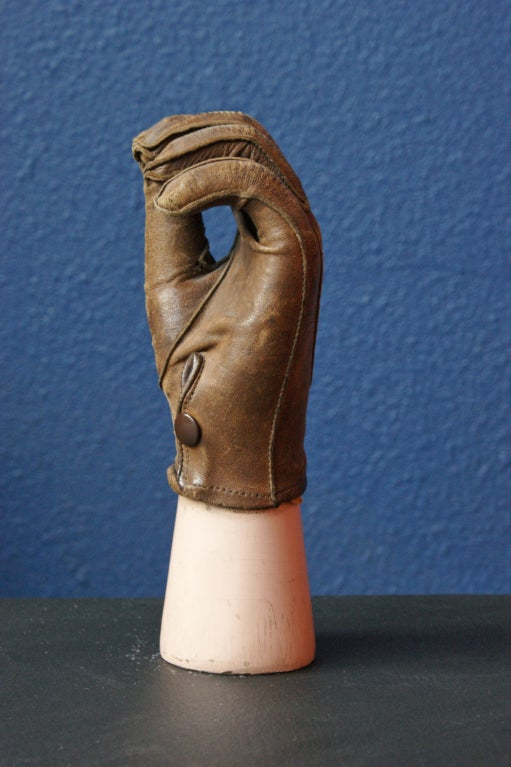 Late 19th Century Prosthetic Hand with Leather Glove In Fair Condition For Sale In Santa Monica, CA