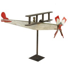 Large Wooden Folk Art Plane, circa 1930s