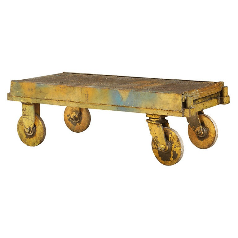 C 1920 39 S Industrial Factory Iron Trolley Cart Coffee Table At 1stdibs