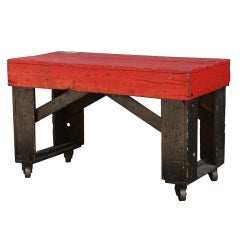 Vintage Industrial Factory Cart with Bold Red and Black Paint