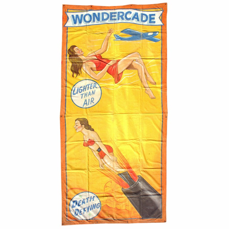 American Sideshow Wondercade Circus Banner Signed J. Sigler For Sale