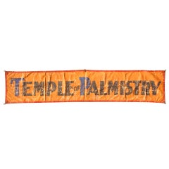 "Vintage Large Sideshow Palm Readers Banner 8' x 2' ""Temple Of Palmistry"""