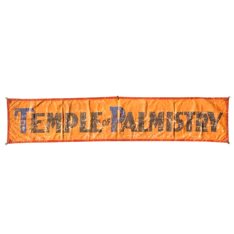 "Vintage Large Sideshow Palm Readers Banner, ""Temple Of Palmistry"""