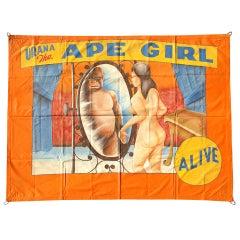 Vintage Urana the Ape Girl Sideshow Banner