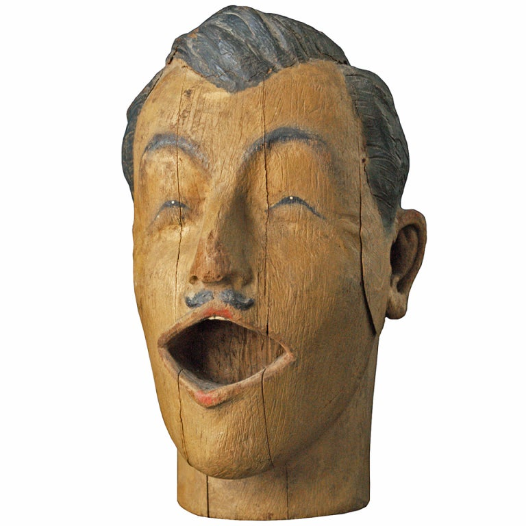 Carved American Carnival Head, circa 1890s For Sale