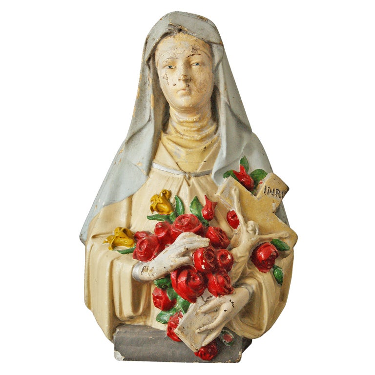 Vintage St. Therese Chalkware Bust For Sale