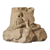 American Folk Art Limestone Carving Snake, Shield & Stump