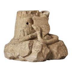 American Folk Art Limestone Carving Snake, Shield and Stump
