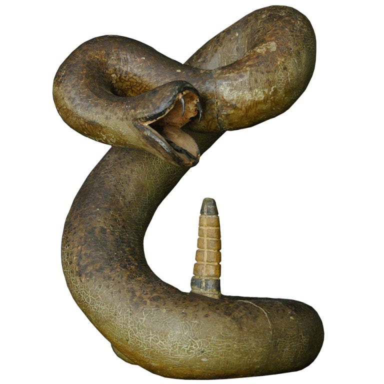 Striking rattle snake carved wood american folk art