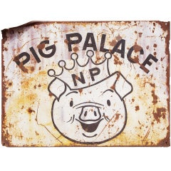 """Party Pig"" Northern Pacific Railroad 6 foot Iron Boxcar Fragment"
