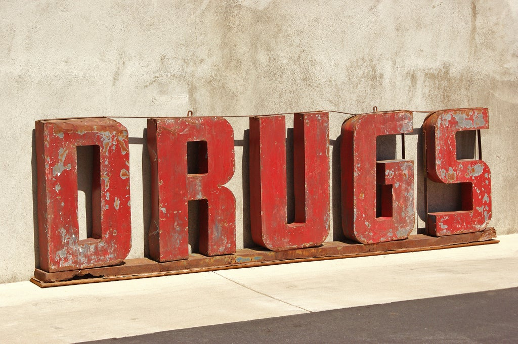 DRUGS American 3D 1930's 12' Trade Sign 2