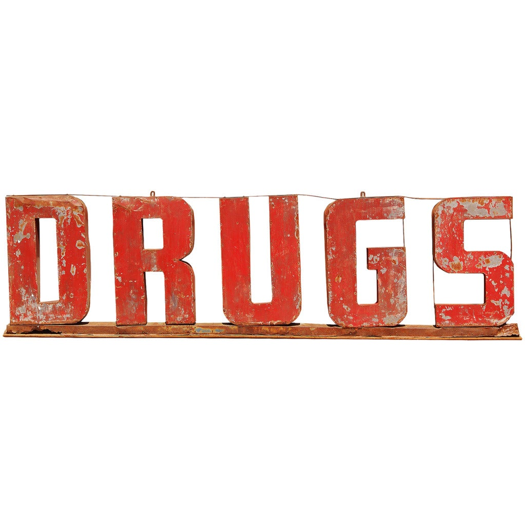 DRUGS American 3D 1930's 12' Trade Sign 1