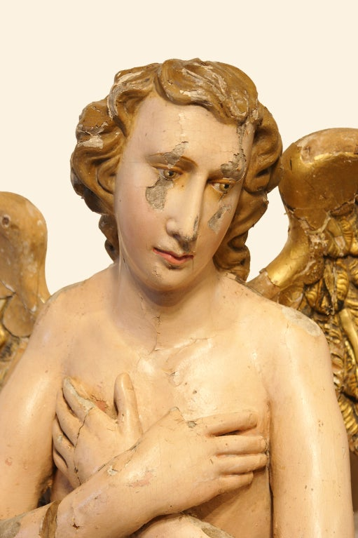Gilt 18th Century Flemish Wood Carved Nativity Angels For Sale