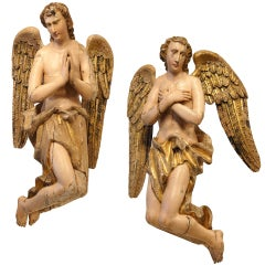 18th Century Flemish Wood Carved Nativity Angels