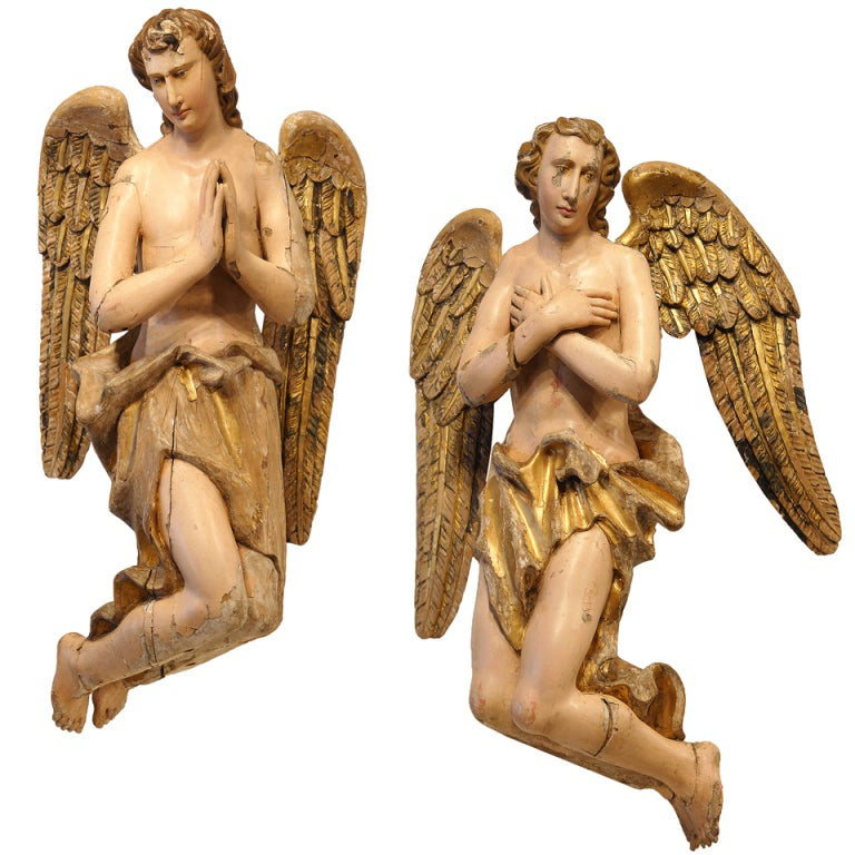 18th Century Flemish Wood Carved Nativity Angels For Sale