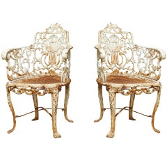 Pair Of Mid 19th Century Cast Iron Lyre-Back Garden Chairs