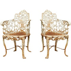 Pair of Mid-19th Century Cast Iron Lyre-Back Garden Chairs