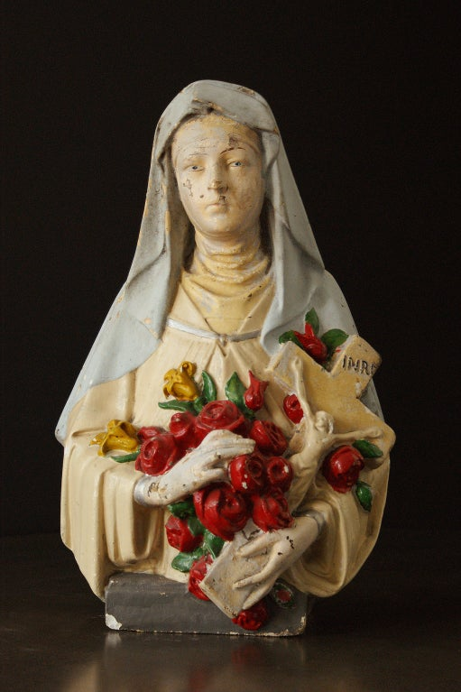 Folk Art Vintage St. Therese Chalkware Bust For Sale