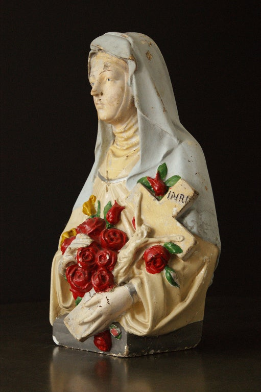 American Vintage St. Therese Chalkware Bust For Sale
