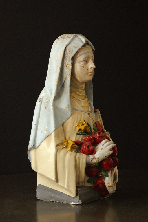 Hand-Painted Vintage St. Therese Chalkware Bust For Sale