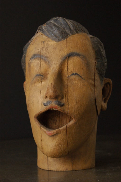 Folk Art Carved American Carnival Head, circa 1890s For Sale