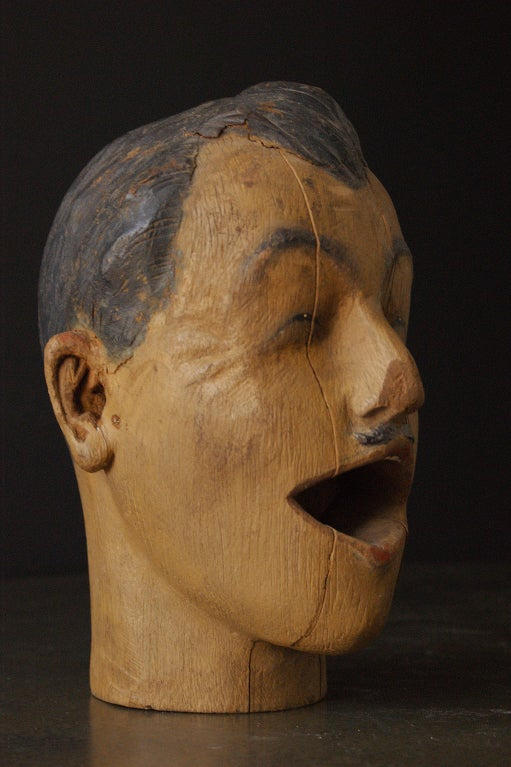 Carved American Carnival Head, circa 1890s In Good Condition For Sale In Santa Monica, CA