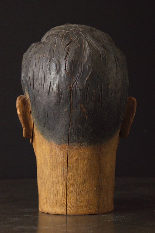 19th Century Carved American Carnival Head, circa 1890s For Sale