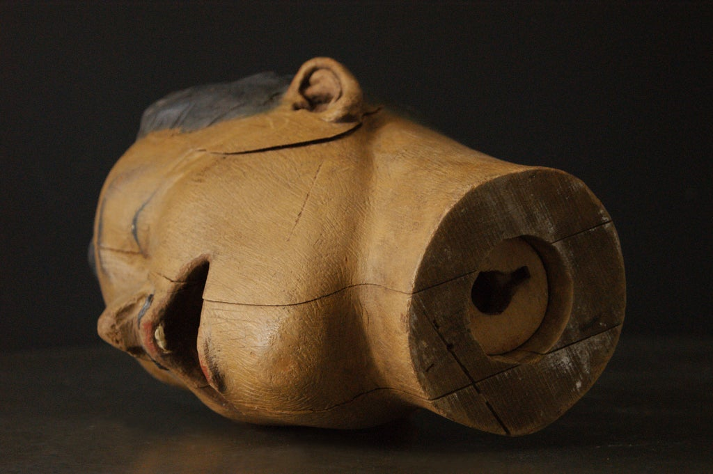 Wood Carved American Carnival Head, circa 1890s For Sale