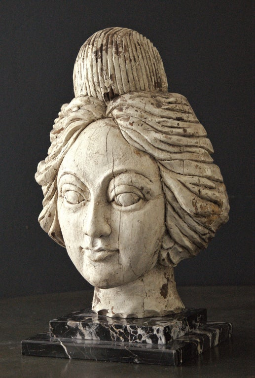 Folk Art American Carnival Wagon or Band Organ Carved Female Head For Sale