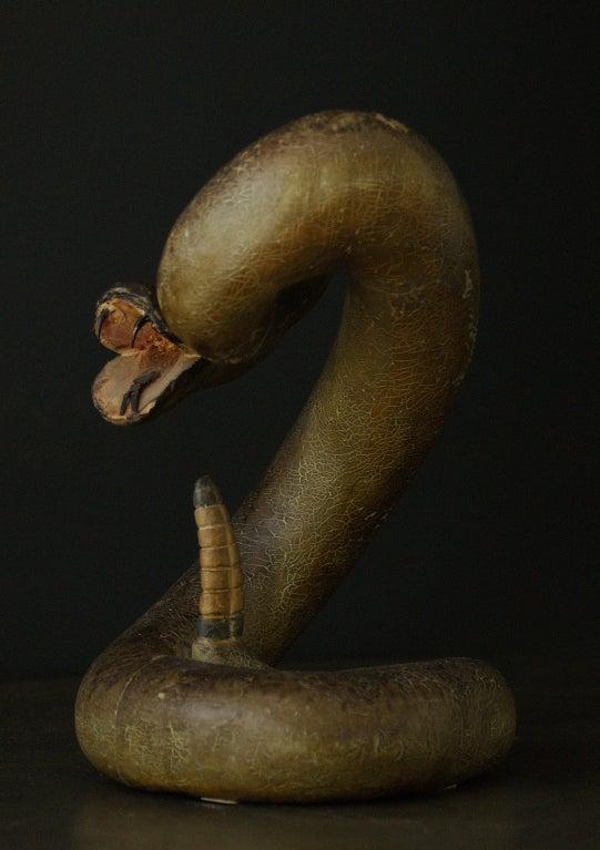 Hand-Carved Striking Rattle Snake Carved Wood American Folk Art For Sale