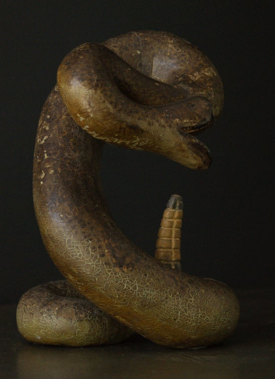 Striking Rattle Snake Carved Wood American Folk Art In Good Condition For Sale In Santa Monica, CA