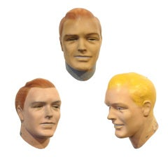 Three Plaster and Sheet Metal Human Head Prototypes