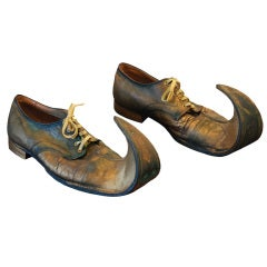 Fanciful Curly-Toed American Circus Clown Shoes