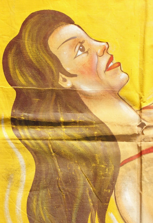Hand-Painted American Sideshow Wondercade Circus Banner Signed J. Sigler For Sale