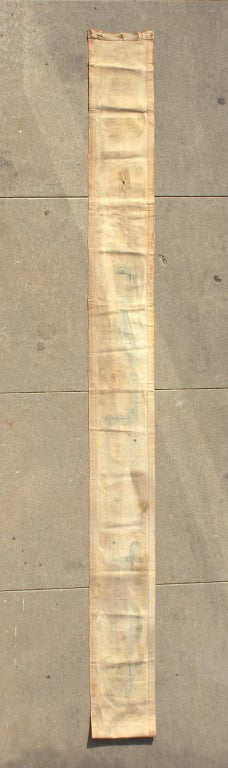 Original hand-painted canvas sideshow banner for carnival midway sideshow entrance. Not signed but most likely out of Chicago Tent and Awning's banner shop. Original wood strip attached to bottom of banner to keep it weighted down when hung.
