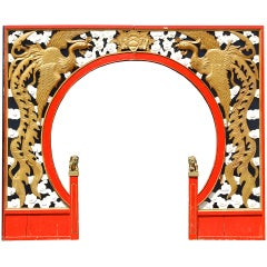 Wood Carved Chinese Restaurant Entry Arch, circa 1940s